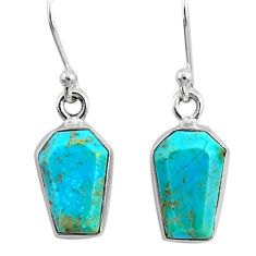 925 silver 6.95cts coffin blue arizona mohave turquoise dangle earrings r80025