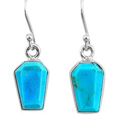 925 silver 7.47cts coffin blue arizona mohave turquoise dangle earrings r80028