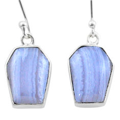925 silver 11.18cts coffin natural blue lace agate dangle earrings t47865