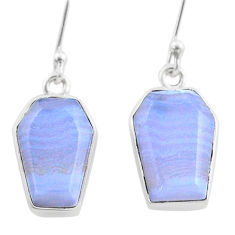 925 silver 10.74cts coffin natural blue lace agate dangle earrings t47868
