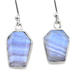 925 silver 9.80cts coffin natural blue lace agate dangle earrings t47871