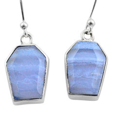 925 silver 11.06cts coffin natural blue lace agate dangle earrings t47874