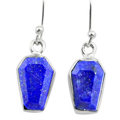 925 silver 8.00cts coffin natural blue lapis lazuli dangle earrings r79989