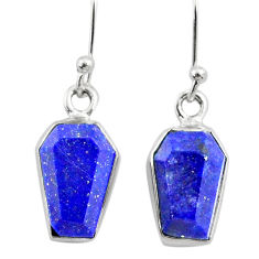 925 silver 8.00cts coffin natural blue lapis lazuli dangle earrings r79991