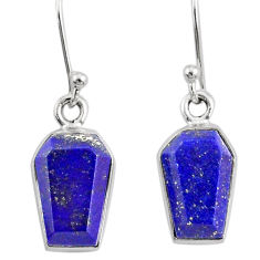 925 silver 8.33cts coffin natural blue lapis lazuli dangle earrings r80033