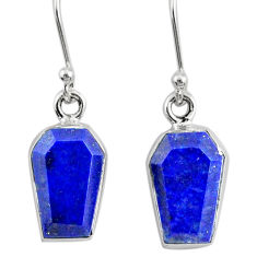 925 silver 8.46cts coffin natural blue lapis lazuli dangle earrings r80044