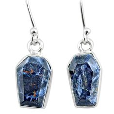 925 silver 7.04cts coffin natural pietersite (african) dangle earrings r80012