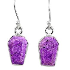 925 silver 6.97cts coffin natural purpurite stichtite dangle earrings r80049