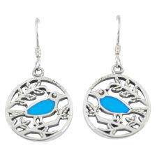 925 silver 4.27gms fine blue turquoise enamel birds earrings a88627 c14233