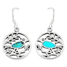 925 sterling silver 5.02gms fine green turquoise enamel birds earrings c11654