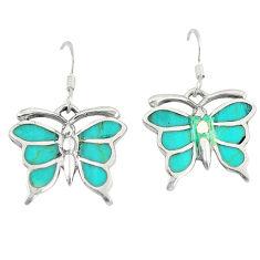 925 silver fine green turquoise enamel butterfly earrings jewelry a49660 c14330