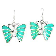 925 silver fine green turquoise enamel butterfly earrings jewelry c11593