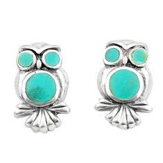 925 silver 4.25gms fine green turquoise enamel owl earrings a91938 c14348