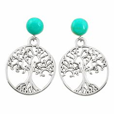 925 sterling silver fine green turquoise tree of life earrings jewelry c11698