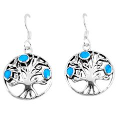 925 silver 3.69gms fine blue turquoise enamel tree of life earrings c11657