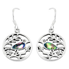 925 silver 4.26gms green abalone paua seashell dangle earrings jewelry c11655