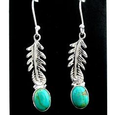 925 silver 3.89cts green arizona mohave turquoise dangle earrings jewelry t37328