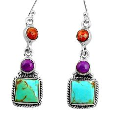 925 silver 12.36cts green arizona mohave turquoise dangle earrings r26910