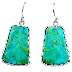 925 silver 16.88cts green arizona mohave turquoise dangle earrings r29290