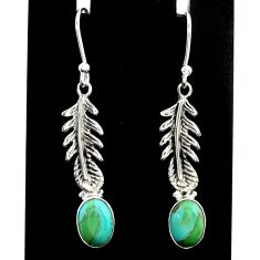 925 silver 3.98cts green arizona mohave turquoise dangle earrings t37323