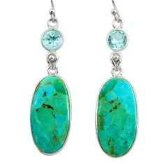 925 silver 15.93cts green arizona mohave turquoise topaz dangle earrings r29284
