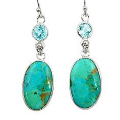925 silver 13.69cts green arizona mohave turquoise topaz dangle earrings r29293