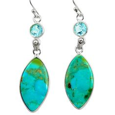925 silver 13.69cts green arizona mohave turquoise topaz dangle earrings r29296