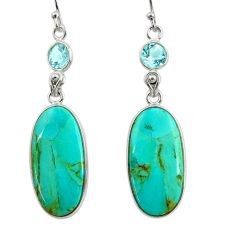 925 silver 16.49cts green arizona mohave turquoise topaz dangle earrings r29299