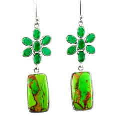 Clearance Sale- 925 silver 22.81cts green copper turquoise chalcedony dangle earrings d39675
