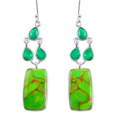 Clearance Sale- 925 silver 19.76cts green copper turquoise chalcedony dangle earrings d39688