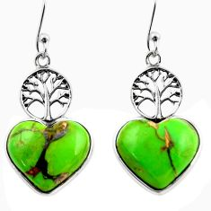 925 silver 9.72cts green copper turquoise heart tree of life earrings r46804