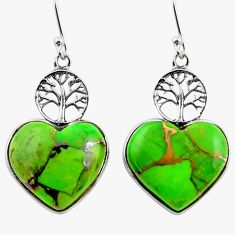 925 silver 12.63cts green copper turquoise heart tree of life earrings r46808