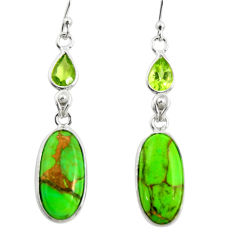 925 silver 12.47cts green copper turquoise peridot dangle earrings r26104