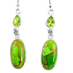 925 silver 16.04cts green copper turquoise peridot dangle earrings r26107