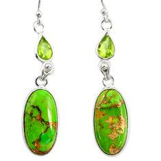 925 silver 14.30cts green copper turquoise peridot dangle earrings r26127