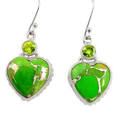Clearance Sale- 925 silver 23.45cts green copper turquoise peridot dangle heart earrings d39506