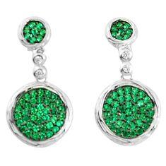 925 silver 3.42cts green emerald quartz white topaz earrings a90197 c24729