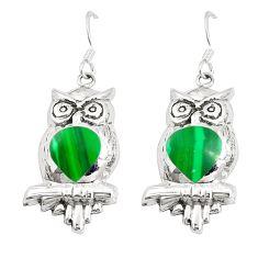 Green malachite (pilots stone) 925 silver owl earrings jewelry c11586