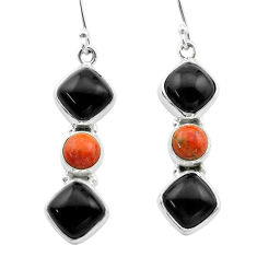 925 silver 14.41cts halloween natural black onyx sponge coral earrings t57537