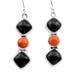 925 silver 14.39cts halloween natural onyx red sponge coral earrings t57532
