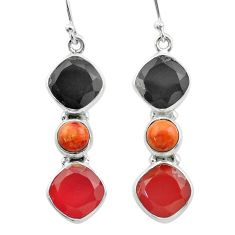 Clearance Sale- 925 silver 17.40cts halloween natural onyx sponge coral onyx earrings t57540