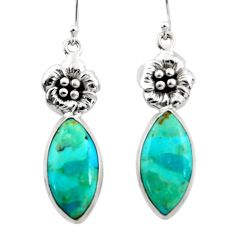 925 silver 18.79cts heart arizona mohave turquoise flower earrings r46959