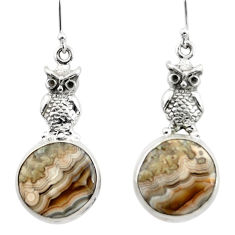 925 silver 19.07cts heart mexican laguna lace agate owl earrings r46953
