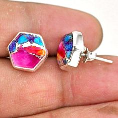 925 silver 8.95cts hexagon spiny oyster arizona turquoise stud earrings r93624