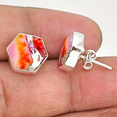 925 silver 9.27cts hexagon spiny oyster arizona turquoise stud earrings r93628