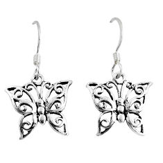 925 silver 2.02gms indonesian bali style solid butterfly earrings jewelry c20903
