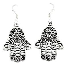 925 silver indonesian bali style solid hand of god hamsa earrings c20263