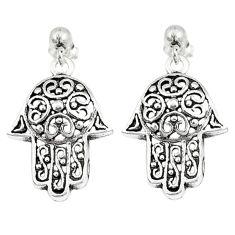 925 silver indonesian bali style solid hand of god hamsa earrings c20313