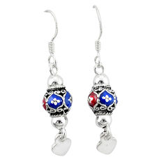 925 silver indonesian bali style solid multi color enamel ball earrings c23024