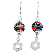 925 silver indonesian bali style solid multi color enamel ball earrings c23075